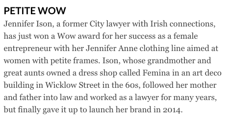 Petite fashion Jennifer Anne article in The Irish Times