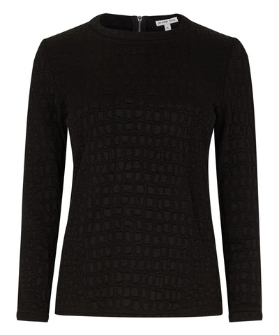 Petite black sweater textured fabric Jennifer Anne