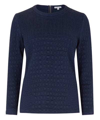 Petite navy sweater textured fabric Jennifer Anne