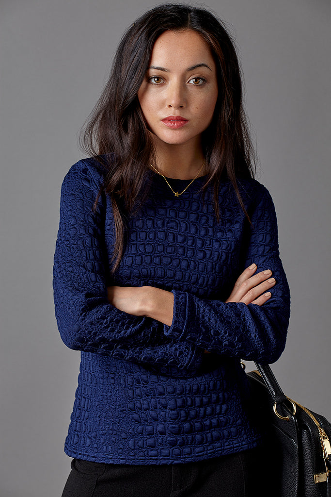 Petite Model with Jennifer Anne Pym Navy Blue Jumper