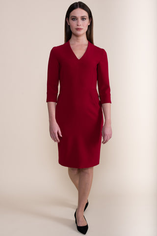 Petite Berry Red V-Neck Shift Dress - Jennifer-Anne