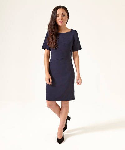 Petite Navy Panel Shift Dress