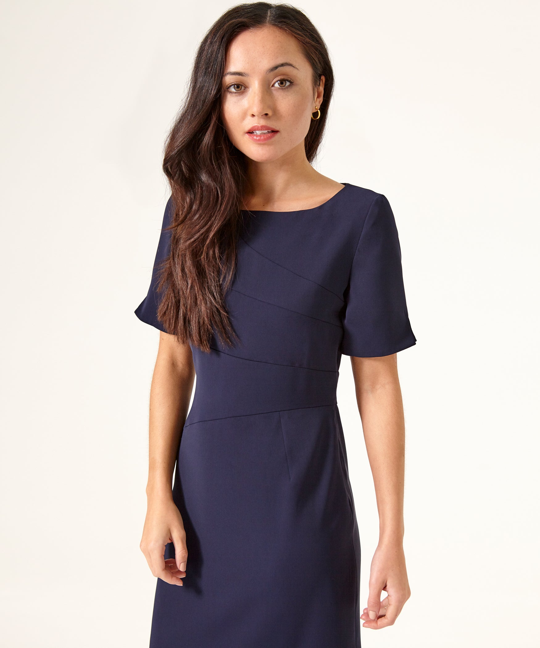 Petite Navy Panel Shift Dress - Jennifer-Anne