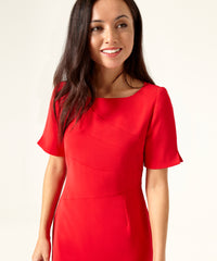 Petite Red Shift Panel Dress - Jennifer-Anne
