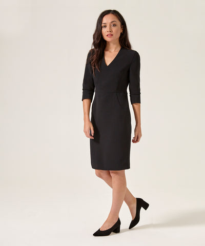 Petite Black V-Neck Shift Dress - Jennifer-Anne