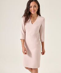 Petite Blush V-Neck Shift Dress - Jennifer-Anne