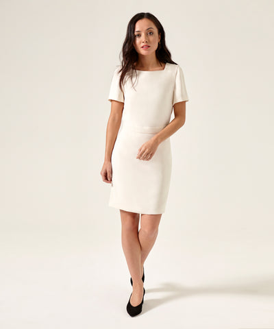 Petite Square Neck Ivory Dress