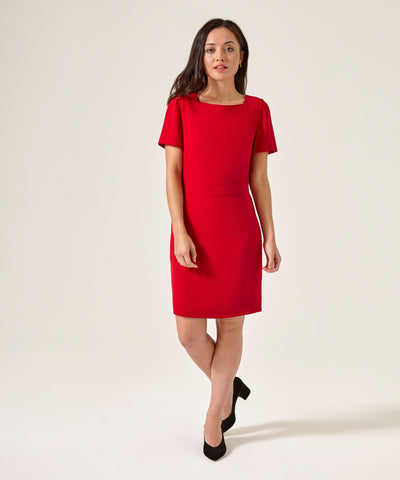 Petite Square Neck Red Dress