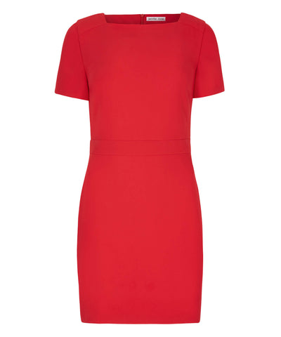 Petite Square Neck Red Dress - Jennifer-Anne