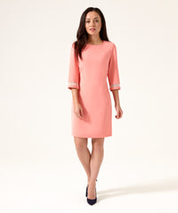 Petite 3/4 Sleeve Coral Dress - Jennifer-Anne