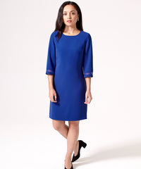 Petite Royal Blue 3/4 Sleeve Dress - Jennifer-Anne