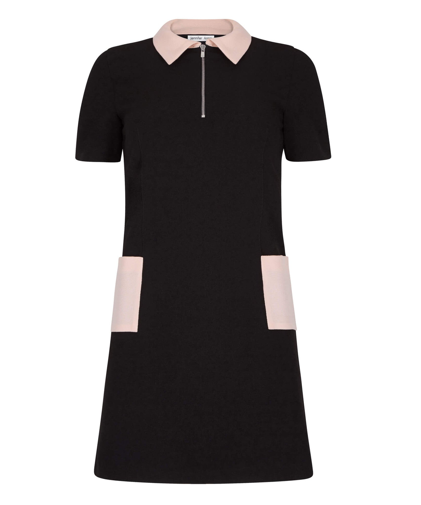 Petite Black Polo Dress with Blush - Jennifer-Anne