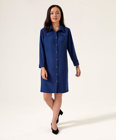 Petite Blue Shirt Dress - Jennifer-Anne