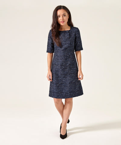 Petite Blue Button Front Dress - Jennifer-Anne