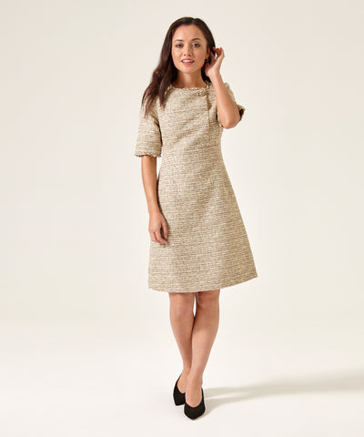 Petite Taupe Cream Button Front Dress - Jennifer-Anne