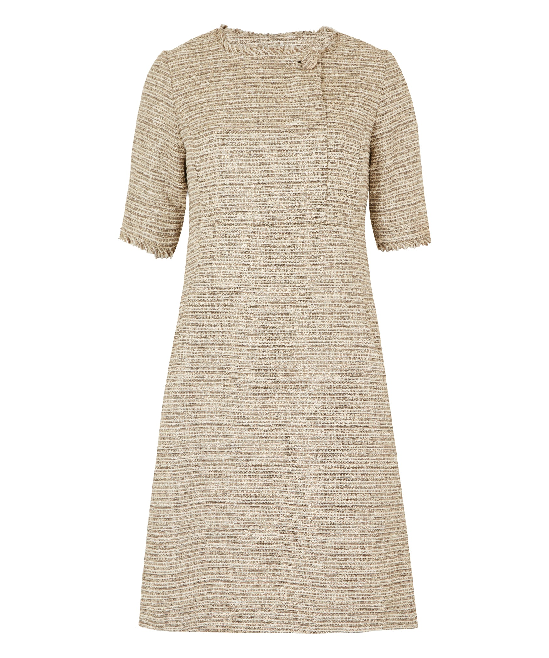 Petite Taupe Cream Button Front Dress (Petite Sizes) Made In The UK 7416062426