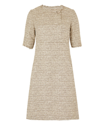 Petite Taupe Cream Button Front Dress - Special Offer of the Week!