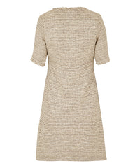 Petite Taupe Cream Button Front Dress