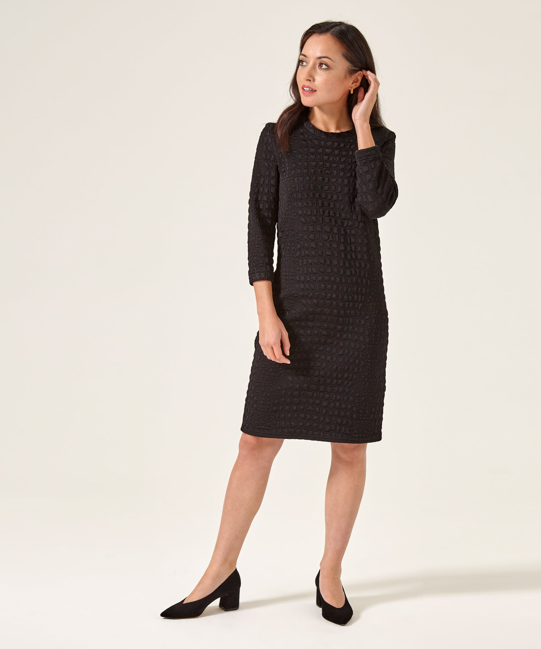 aba5118f5c6 Petite Black Sweater Dress (3 4 Length Sleeves) Made In The UK