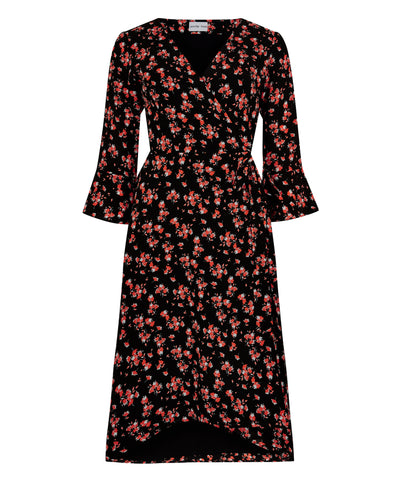 Petite Black And Orange Print Wrap Dress - Jennifer-Anne