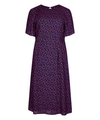 Petite Navy Midi Print Dress - Jennifer-Anne