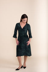 Petite Green Print Silk Wrap Dress - Jennifer-Anne