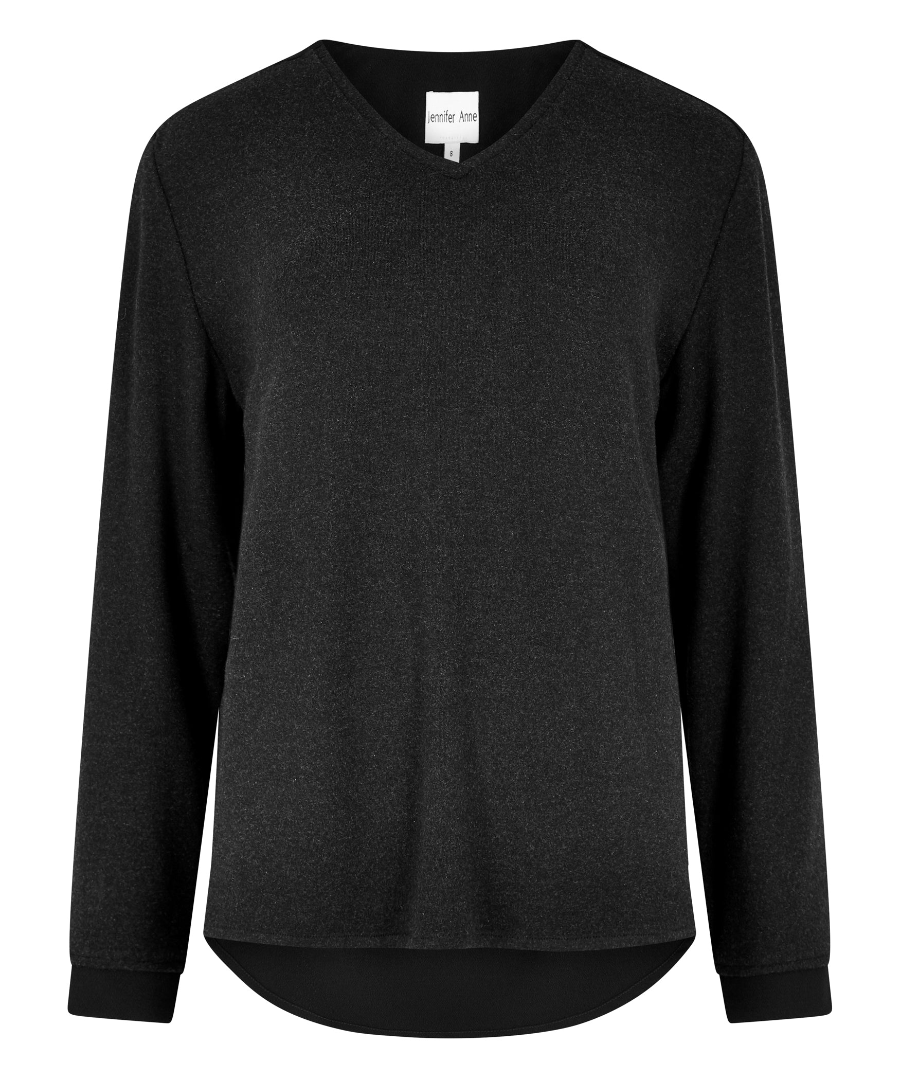 Petite Charcoal and Black Contrast V-neck Jumper - Jennifer-Anne