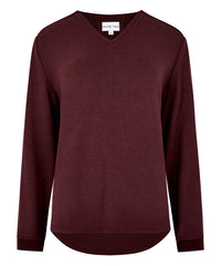 Petite Burgundy V-neck Jumper - Jennifer-Anne