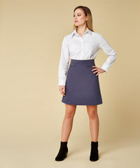Petite Navy Cotton Sateen Skirt - Jennifer-Anne