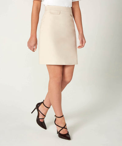 Petite Beige Cotton Sateen Skirt - Jennifer-Anne