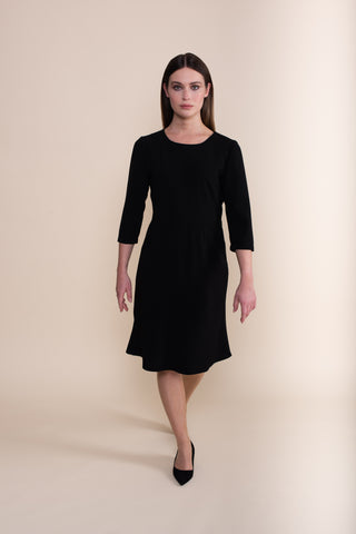 Petite 3/4 Sleeve Black Work Dress - Jennifer-Anne