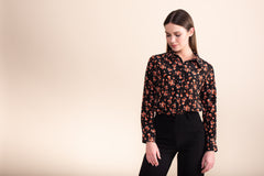Petite black and orange print long sleeved silk shirt - Jennifer-Anne