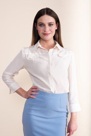 Petite Cream Silk Crepe de Chine Pocket Shirt - Jennifer-Anne