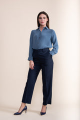 Petite steel blue long sleeved silk shirt - Jennifer-Anne