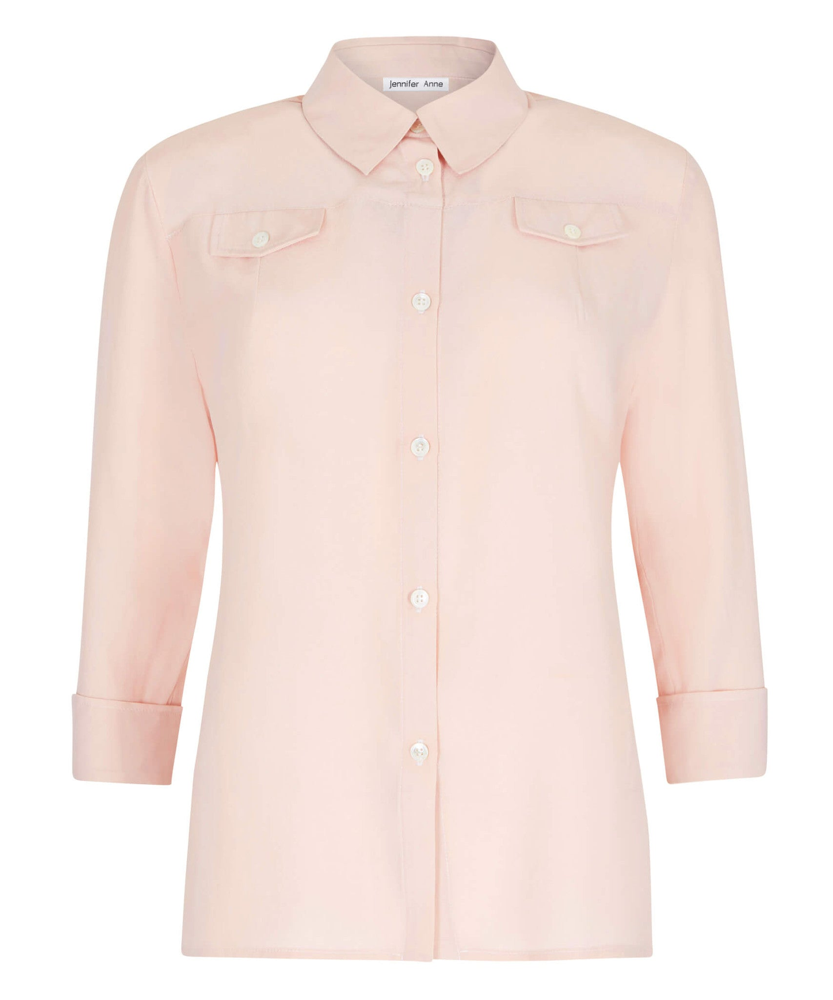 Petite Blush Silk Crepe de Chine Pocket Shirt - Jennifer-Anne
