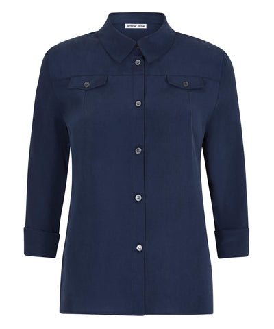 Petite Cobalt Blue Silk Crepe de Chine Pocket Shirt - Jennifer-Anne