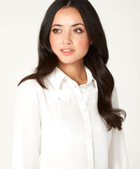 Petite Ivory Silk Crepe de Chine Pocket Shirt - Jennifer-Anne