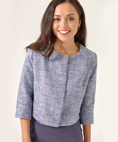 Petite Patterned Cropped Silk Linen Jacket - Jennifer-Anne