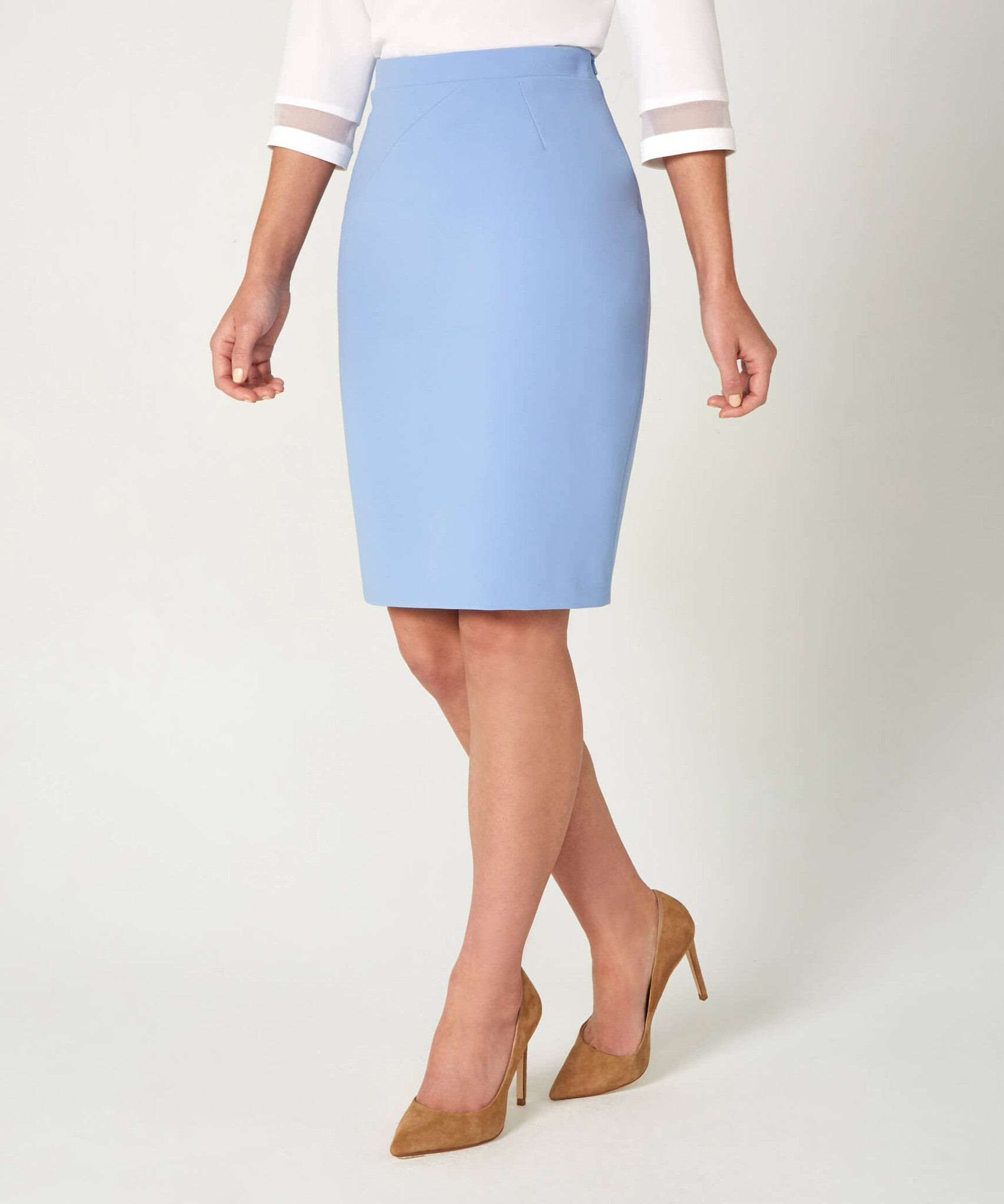 Petite light blue pencil skirt