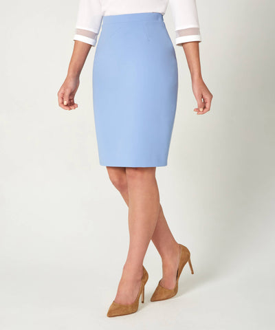 Petite Light Blue Pencil Skirt - Jennifer-Anne