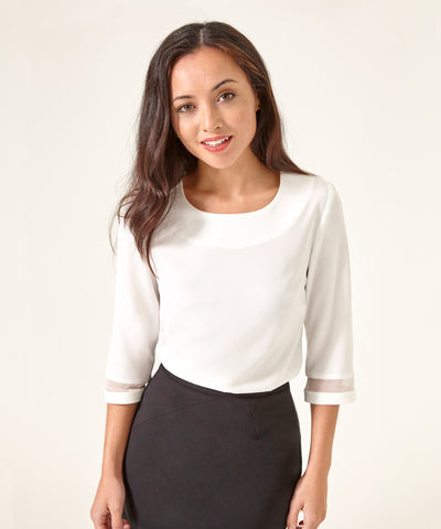 Petite Ivory Top with Sandwashed Silk Crepe Georgette Trim - Jennifer-Anne