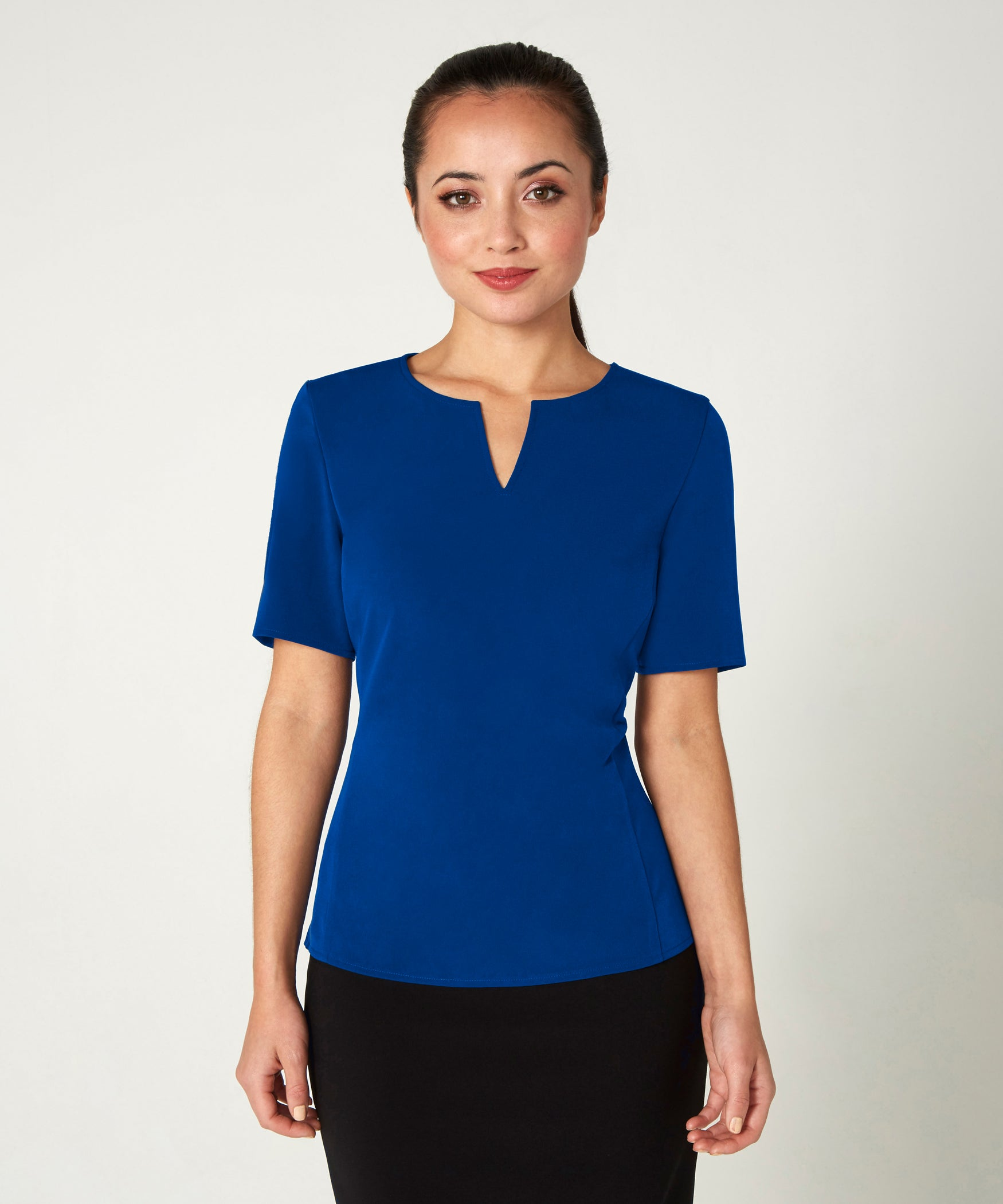 Petite Blue Notch Neck Top - Jennifer-Anne