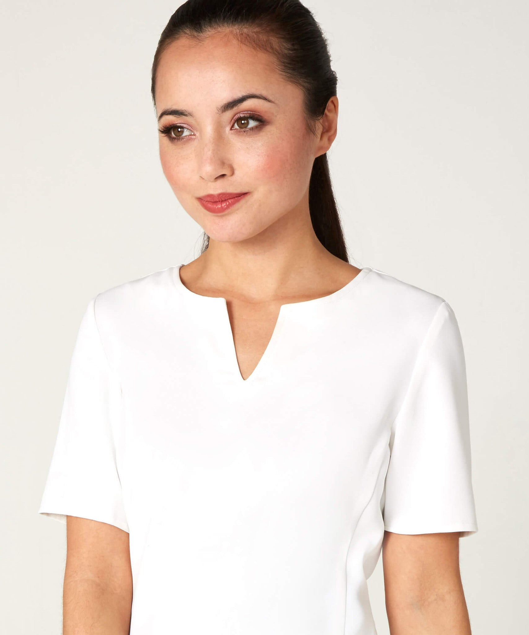 Petite Ivory Notch Neck Top - Jennifer-Anne