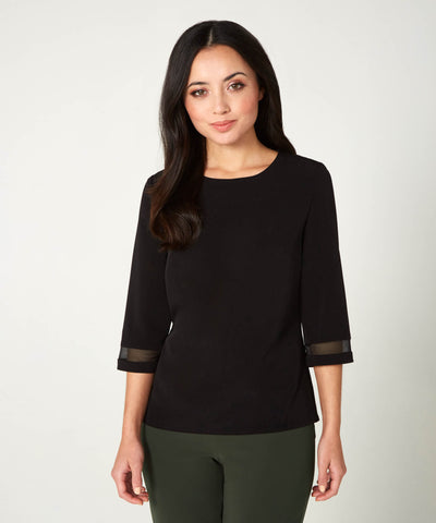Petite Black Top with Sandwashed Silk Crepe Georgette Trim - Jennifer-Anne