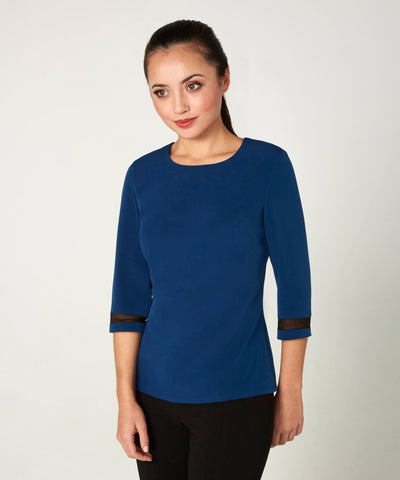Petite Navy Blue Top with Sandwashed Silk Crepe Georgette Trim - Jennifer-Anne