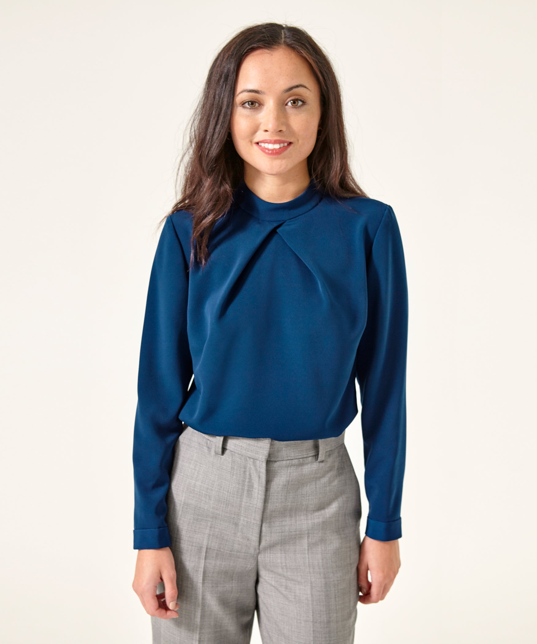 Petite Blue High Neck Top - Use Code Anniversary for 25% off!
