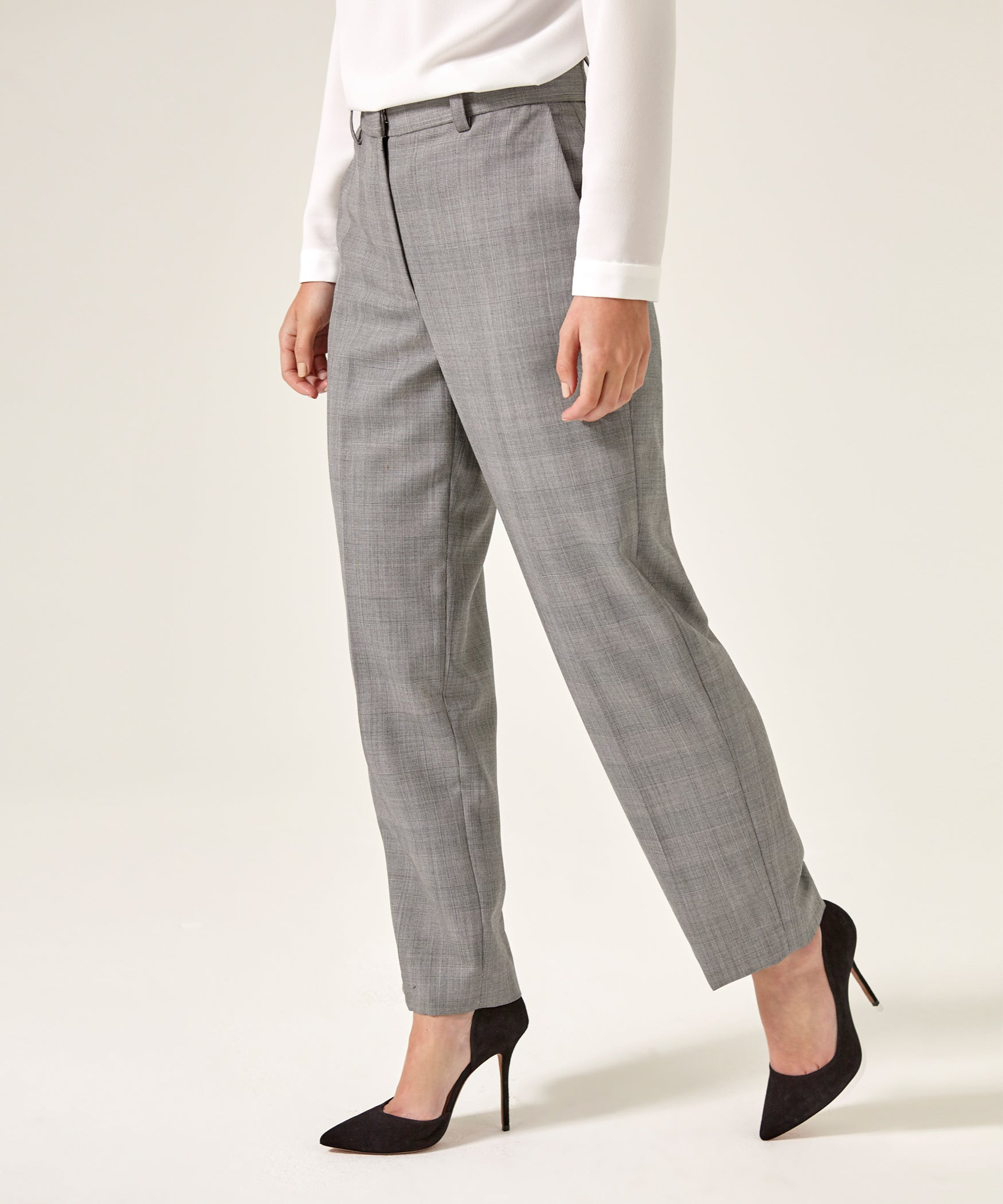 Petite Grey Merino Wool Trousers - Jennifer-Anne