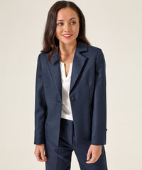 Petite Navy Blue Merino Wool Blazer - Jennifer-Anne