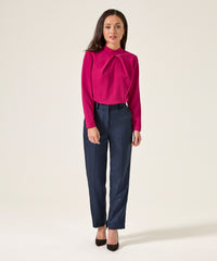 Petite Fuschia High Neck Top - Jennifer-Anne