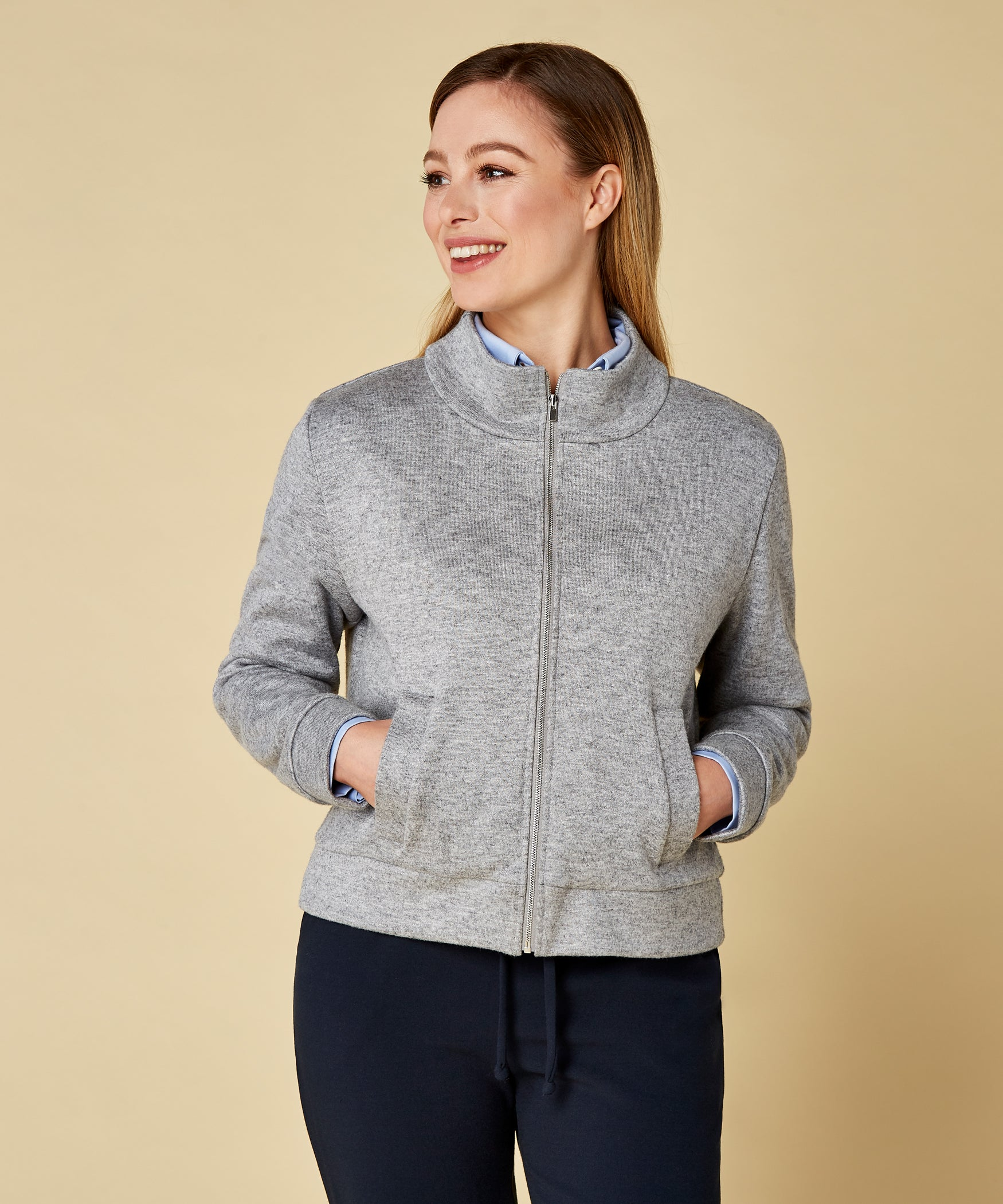 Petite Grey Funnel Neck Jacket - Jennifer-Anne